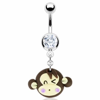 Winking Monkey Face Dangle Belly Bar