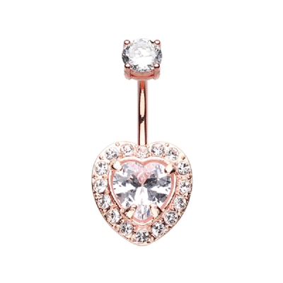 Rose Gold Plated Super Bling Heart Crystal Cluster Belly Bar