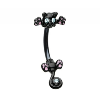 Cute Black Cat Double Ended Belly Bar