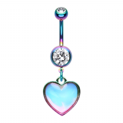 Reflective Stone Heart Dangle Belly Bar