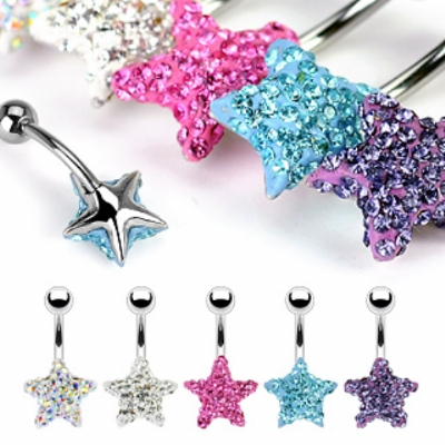 Star Discoball Crystal Studded Belly Bar - Clear