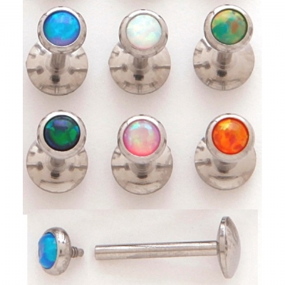 Opal Stone Internally Threaded Micro Labret Stud