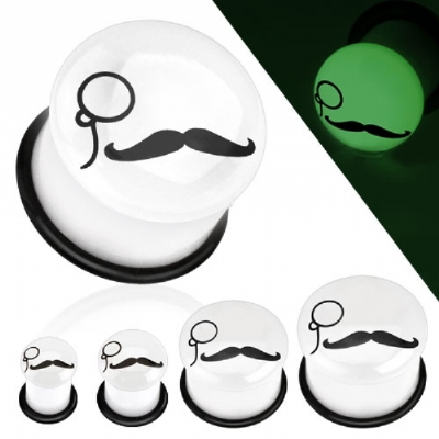 Moustache and Monocle Glow in the Dark Plug
