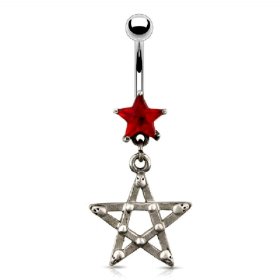 Pentagram & Star Dangle Belly Piercing Bar