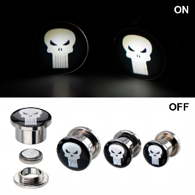 Light Up Punisher Logo Official Licensed Plugs 8mm - 12mm (Pair)