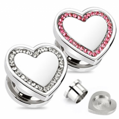 Heart Shaped Crystal Rim Surgical Steel Screw On Flesh Plug