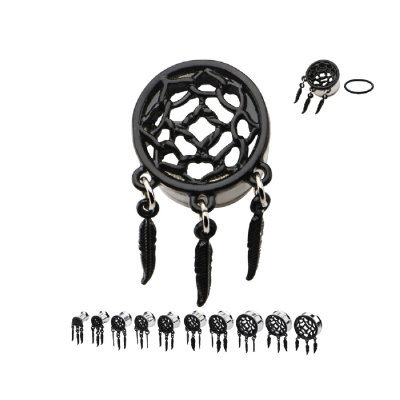 Black Dreamcatcher Dangle Style Plug 6mm - 25mm