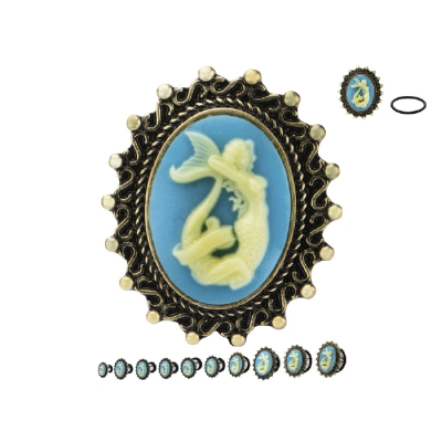 Mermaid Cameo Surgical Steel Single Flared Eyelet