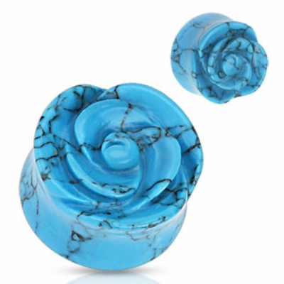 Synthetic Turquoise Stone Carved Rose Flower Flared Plug