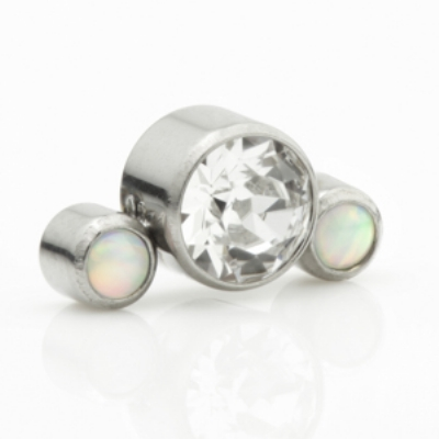 Triple Cluster Labret Ear Stud - Clear Crystal and Opal