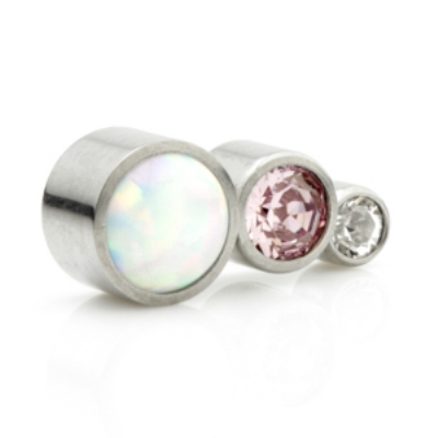 Opal and Crystal 3 Arc Labret - Clear and Pink Crystal