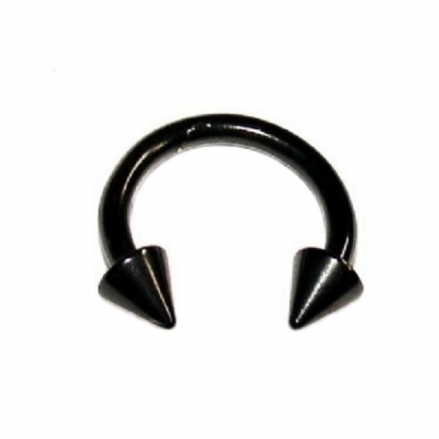 Black Horseshoe Septum Ring - 1.6mm - Spike
