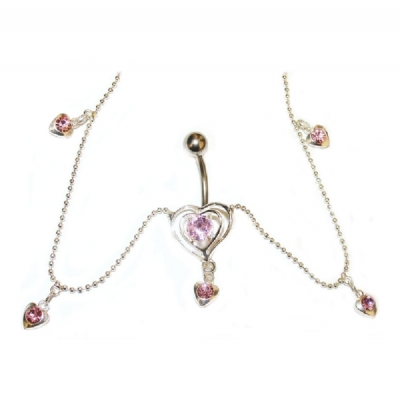 Pink Crystal Small Heart Belly Bar Chain