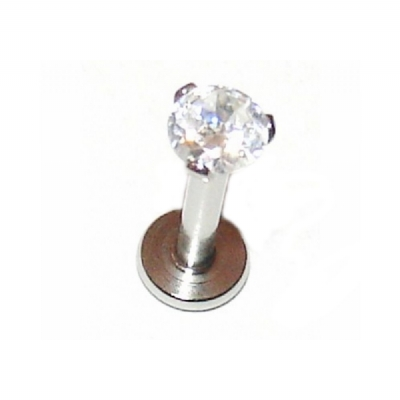 Prong Set Crystal Internally Threaded Micro Labret Lip Stud - 1.2mm