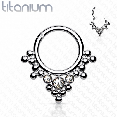 White Crystal & Bead Cluster Titanium Hinged Segment Clicker Ring