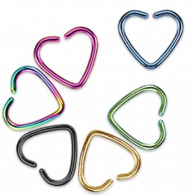 Coloured Heart Shaped Piercing Ring - 1.2mm - Suitable for Pierced & Unpierced Ears!