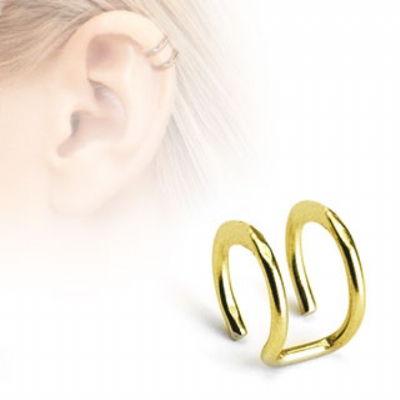 Gold Plated Double Plain Clip On Fake Helix Ear Cuff