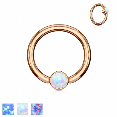 Flat Opal Disk Rose Gold Surgical Steel Ball Closure Ring - 1.2mm