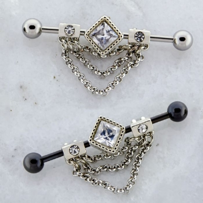 Diamond Shape Crystal Chain Dangle Industrial Scaffold Barbell