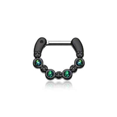 Blackline Black Opal Sparkle Septum Clicker Ring