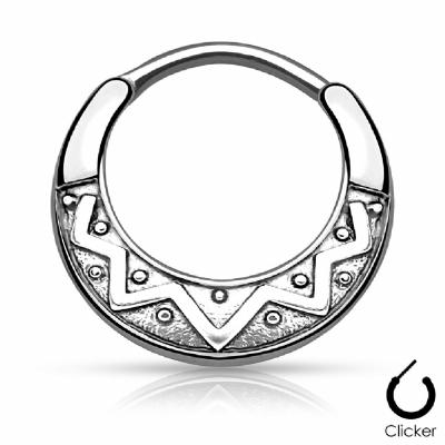 Aztec Pattern Septum Clicker Ring