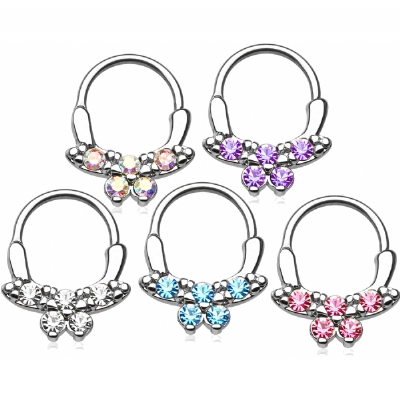 Crystal Butterly Septum Clicker Ring