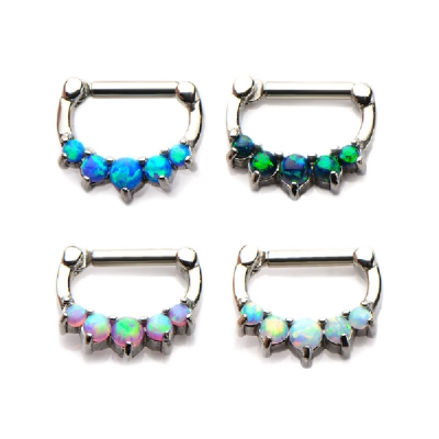Prong Set Opal Hinged Septum Clicker Ring