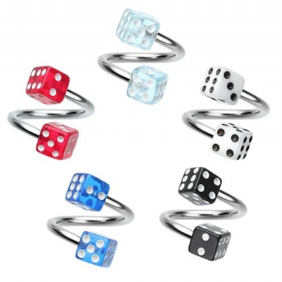 Colourful Dice Piercing Spiral Ring - 1.2mm