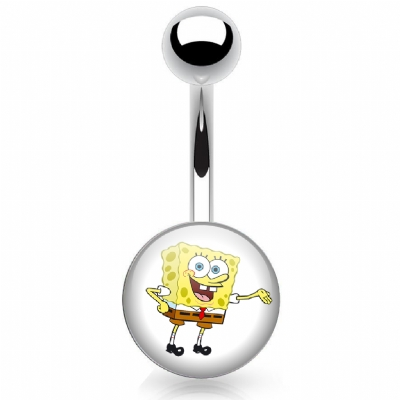 Sponge Bob Logo Belly Piercing Bar
