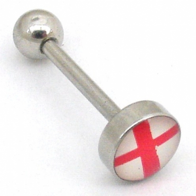 St George's Cross English Flag Logo Tongue Piercing Bar