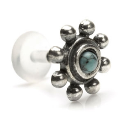 Sterling Silver Turquoise Bead Surround Design Push-Fit Flexi Micro Labret