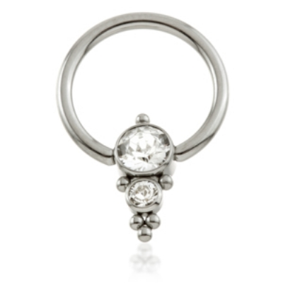 Double Crystal Cluster Titanium Ball Closure Ring - 1.6mm