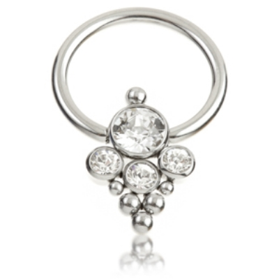 Large Crystal Cluster Titanium Ball Closure Ring - 1.6mm