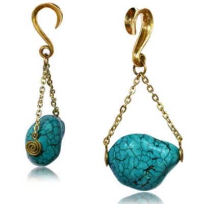 Turquoise Chunk Chain Dangle Ear Weight