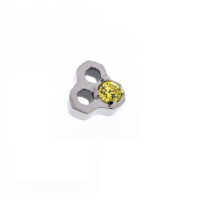 Yellow Crystal Honeycomb Ear Helix / Tragus / Lip Labret Stud 1.2mm