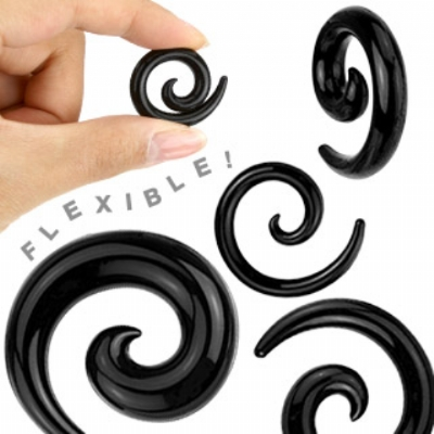 Black Silicone Flexi Ear Hook Spiral 3mm - 12mm