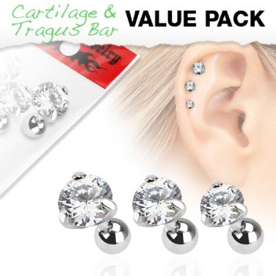 Triple Helix Round Prong - Set of 3 Crystal 1.2mm Barbells