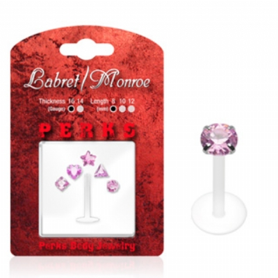 Shaped Crystals Push-Fit Flexi Lip Stud 1.2mm - Value Pack - Pink